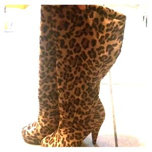 Knee high leopard boots